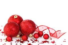красный цвет украшения рождества стоковое изображение