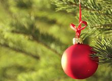 красный цвет украшения cristmas шариков Стоковая Фотография