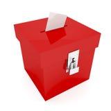 красный цвет урны для избирательных бюллетеней Стоковая Фотография