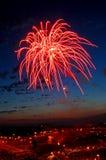красный цвет феиэрверка Стоковые Фотографии RF