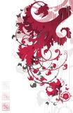 красный цвет флористического орнамента Стоковое Изображение RF