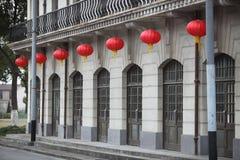 красный цвет фонарика здания Стоковое Изображение RF