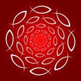 Красный цвет христианского круга ichthys белый иллюстрация штока