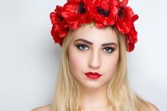Красный цвет цветет венок Стоковые Изображения RF