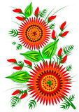 Красный цвет цветет декоративный фольклорный элемент EPS 10 Стоковое Изображение RF