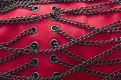 красный цвет цепей кожаный Стоковое Изображение RF