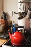 красный цвет чайника Стоковая Фотография RF
