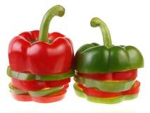 красный цвет части зеленых перцев колокола Стоковая Фотография