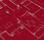 красный цвет чертежа cad Стоковые Изображения