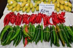 красный цвет чилей зеленый горячий Стоковая Фотография