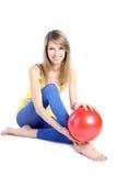 красный цвет шарика красивейший белокурый Стоковая Фотография