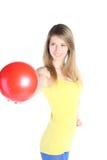 красный цвет шарика красивейший белокурый Стоковые Фото