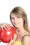 красный цвет шарика красивейший белокурый Стоковые Изображения