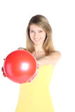 красный цвет шарика красивейший белокурый Стоковое Изображение