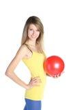 красный цвет шарика красивейший белокурый Стоковые Изображения RF