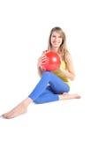красный цвет шарика красивейший белокурый Стоковые Фотографии RF