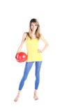 красный цвет шарика красивейший белокурый Стоковое Фото