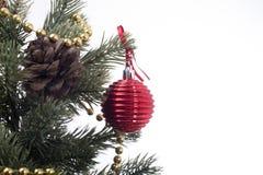 Красный цвет шарика сферы украшения рождества Стоковая Фотография