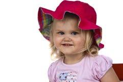красный цвет шлема девушки младенца милый Стоковые Изображения