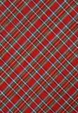 красный цвет шотландки ткани предпосылки Стоковая Фотография RF