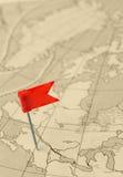 красный цвет штыря карты флага старый Стоковая Фотография