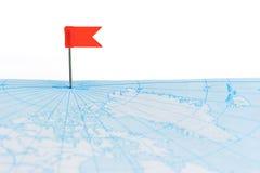 красный цвет штыря карты флага Стоковые Фотографии RF