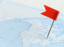 красный цвет штыря карты флага Стоковая Фотография RF
