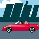 красный цвет 2 девушок автомобиля Стоковое Изображение RF
