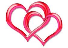 красный цвет 2 сердец Стоковое Изображение