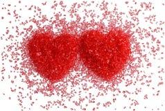 красный цвет 2 сердец Стоковые Изображения