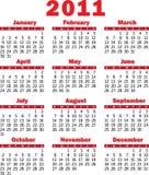 красный цвет 2011 календара Стоковое Изображение RF