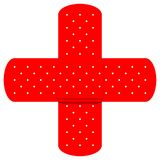 красный цвет bandaids перекрестный Стоковое Изображение