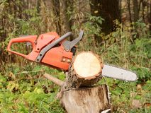 красный цвет chainsaw Стоковое фото RF
