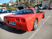 красный цвет chevrolet классический corvette автомобиля Стоковое Изображение