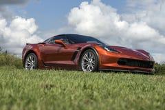 красный цвет chevrolet классический corvette автомобиля Стоковое фото RF