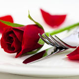 красный цвет cutlery поднял Стоковые Фото