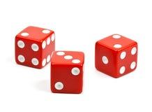 Красный цвет 3 dices на белой предпосылке Стоковые Фотографии RF