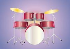 красный цвет drumset Бесплатная Иллюстрация