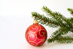 красный цвет firtree рождества завтрака-обеда шарика Стоковая Фотография RF