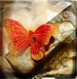 красный цвет grunge бабочки Стоковая Фотография
