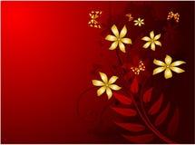 красный цвет grunge предпосылки флористический Стоковое Изображение RF