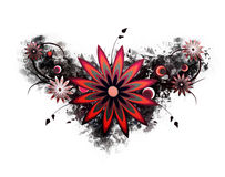 красный цвет grunge цветка Стоковое Фото