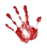 красный цвет handprint Стоковые Фото