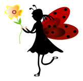 красный цвет ladybug девушки Стоковая Фотография RF