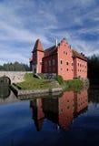 Красный цвет Lhota замка взгляд городка республики cesky чехословакского krumlov средневековый старый Стоковые Изображения RF