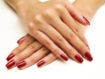 красный цвет manicure Стоковые Изображения