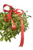 красный цвет mistletoe рождества смычка Стоковая Фотография RF