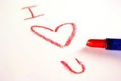 красный цвет notein влюбленности губной помады Стоковые Фотографии RF