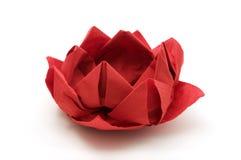 красный цвет origami лотоса Стоковые Изображения