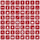 красный цвет pictogram 64 различный икон Стоковые Изображения RF